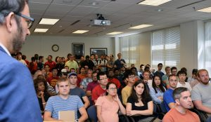 Dr. Pulickel Ajayan, Benjamin M. and Mary Greenwood Anderson Professor in Engineering at Rice University, spoke to a full house during the first graduate seminar of the fall 2016 ME seminar series.