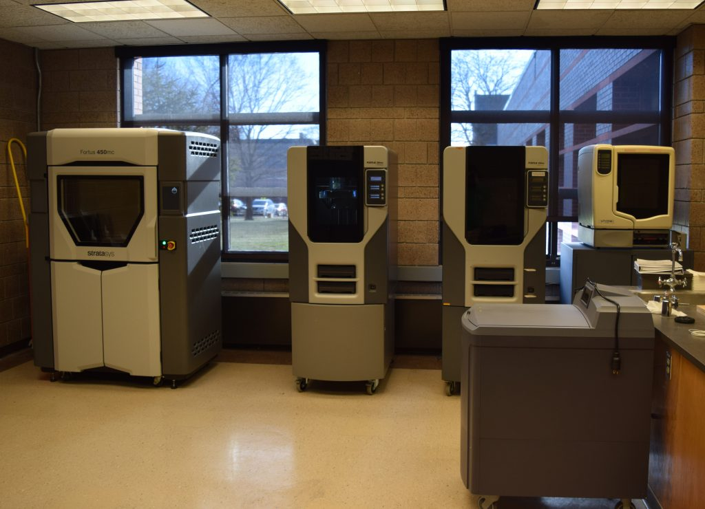 3D printers in the Additive Manufacturign Lab in Black Engineering Building