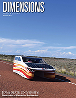 Cover of the fall 2017 edition of Dimensions. PrISUm solar car drives across the Australia outback as part of the 2017 Bridgestone World Solar Challenge