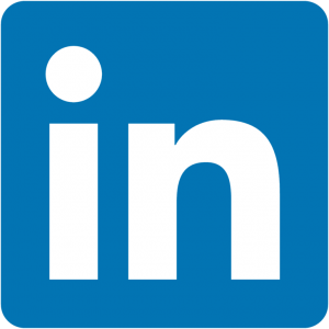 """The LinkedIn logo. A blue square with a white lowercase letters """"in"""" in the middle."""