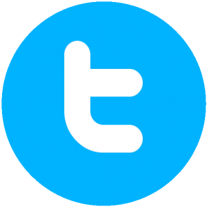 """The Twitter logo. A blue circle with a lowercase letter """"t"""" in the middle."""